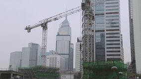 Construction in the Center of Hong Kong. Fast Motion stock video footage