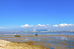 Hong Kong coast and bridge at day Royalty Free Stock Photos