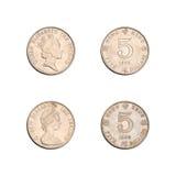 Hong Kong collection de cinq pièces de monnaie du dollar Images stock