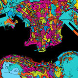 Hong Kong Colorful Map sul nero illustrazione vettoriale