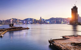 Hong Kong comercial container port Royalty Free Stock Photos