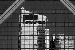 Hong Kong Commercial Building Black u. Weiß Stockfoto