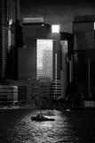 Hong Kong Commercial Building Black y blanco Imagen de archivo