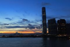 Hong Kong Commercial Building with Sunset Stock Images
