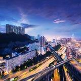 Hong Kong-commercieel centrum bij zonsopgang Royalty-vrije Stock Foto's