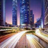 Hong Kong-commercieel centrum bij zonsopgang Stock Afbeelding