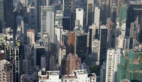 Hong Kong compact living. Picture taken in Hong Kong from a hill Stock Photography