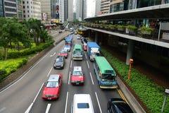 Hong Kong Connaught Road Central på det finansiella området Fotografering för Bildbyråer