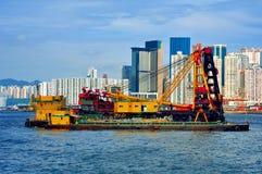 Hong Kong construction at sea. Ongoing widening and deepening project at sea. location : wanchai, hong kong Stock Photo