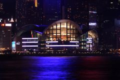 Hong Kong Convention And Exhibition Centre. At night Royalty Free Stock Photography