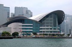 Hong Kong Convention and Exhibition Centre. Hong Kong Exhibition Center in WanChai Stock Photo