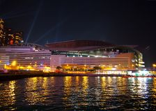 Hong Kong Convention and Exhibition Centre. During laser show in China Stock Image