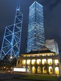 Hong Kong Core Buildings at Night. Hong Kong Traditional and modern commercial buildings at night. Especially old building with old British style Legislative Royalty Free Stock Photography