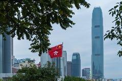 Hong Kong Corporate Buildings, drapeau de Hong Kong image stock