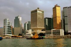 Hong Kong: Corporate Towers on Waterfront Stock Images