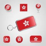 Hong Kong Country Flag sur Keychain et style différent de goupille de carte illustration stock