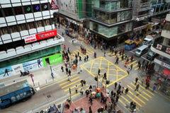 Hong Kong crossing. Hong Kong - January 4, 2012: Aerial view of a crossing in Kowloon, Hong-Kong, China Stock Image