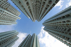Hong Kong crowded apartment blocks Stock Photos