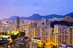 Hong Kong crowded buildings under Lion Rock Hill Royalty Free Stock Photos
