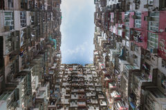 Hong Kong crowded residence bottom view. Cityscape background Stock Photography