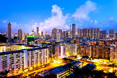 Hong Kong crowded urban at night Royalty Free Stock Photo