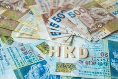 Hong Kong currency banknotes, HK Dollars for business royalty free stock photos