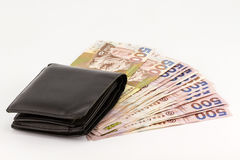 Hong Kong currency and wallet on white background.  Royalty Free Stock Photography