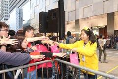 Hong Kong : Défilé chinois international 2014 de nuit de nouvelle année Image libre de droits
