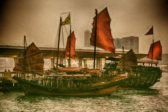 Hong Kong dżonki łodzie Zdjęcia Royalty Free