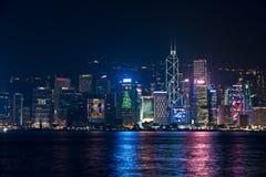 Hong Kong - 9 de dezembro de 2017 Ano novo e de skyline do Natal shi Imagem de Stock Royalty Free