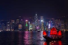 Hong Kong - 9 de dezembro de 2017 Ano novo e de skyline do Natal shi Fotos de Stock Royalty Free