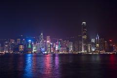 Hong Kong - 9 de diciembre de 2017 Año Nuevo y shi del horizonte de la Navidad Fotos de archivo
