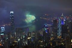 Fuegos artificiales en Hong Kong, China Foto de archivo libre de regalías