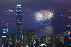 Fuegos artificiales en Hong Kong, China Fotografía de archivo
