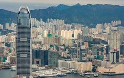 Hong Kong, de horizonpanorama van China van over Victoria Peak Stock Afbeelding