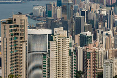 Hong Kong, de horizonpanorama van China van over Victoria Peak Royalty-vrije Stock Afbeelding