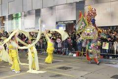 Hong Kong: De internationale Chinese Parade 2014 van de Nieuwjaarnacht Royalty-vrije Stock Foto