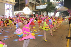 Hong Kong: De internationale Chinese Parade 2015 van de Nieuwjaarnacht Stock Foto's