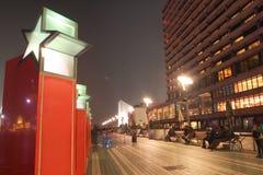 HONG KONG - 17 de janeiro: A avenida das estrelas na noite janeiro 17.201 Fotos de Stock