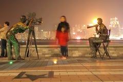 HONG KONG - 17 de janeiro: A avenida das estrelas na noite janeiro 17.201 Imagem de Stock