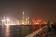 HONG KONG - 17 DE JANEIRO: Skyline em janeiro 17,2015 de Hong Kong Imagens de Stock Royalty Free