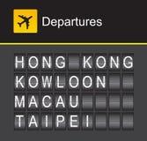 Hong Kong-de luchthavenvertrek van het tikalfabet, Hong Kong, Kowloon, Macao, Taipeh Stock Foto