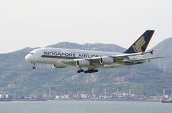 HONG KONG - 28 de mayo: Singapore Airlines Airbus A380 llega en Hong Kong International Airport el 28 de mayo de 2014 en Hong Kon Fotos de archivo