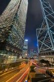 HONG KONG: 3 DE NOVEMBRO DE 2015: Colorido da luz da noite de Hong Kong Imagem de Stock