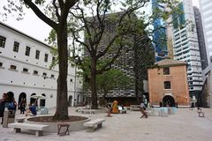 Hong Kong - 21 de septiembre de 2018: Tai Kwun Centre para la herencia y los artes, comisaría de policías central anterior de los fotografía de archivo libre de regalías