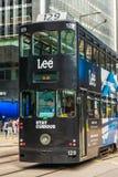 Hong Kong-de tram is het enige die systeem in de wereld met dubbele dekken en één van de belangrijkste toeristische attracties in Royalty-vrije Stock Foto's