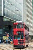 Hong Kong-de tram is het enige die systeem in de wereld met dubbele dekken en één van de belangrijkste toeristische attracties in Royalty-vrije Stock Foto