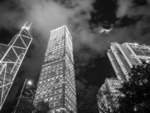 Hong Kong - DEC 9, 2016: Black and white tone Bank of China office on Dec 9 in China, Hong Kong. Bank of China office building is. One of the iconic buildings royalty free stock image