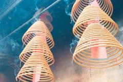 Hong Kong - Dec 04 2015: Circular incenses at Man Mo Temple. a f Royalty Free Stock Image