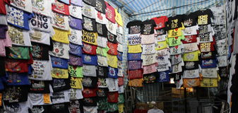 Hong Kong Dec 05, 2013: Divers ontwerp van Hong Kong-t-shirts Stock Afbeeldingen
